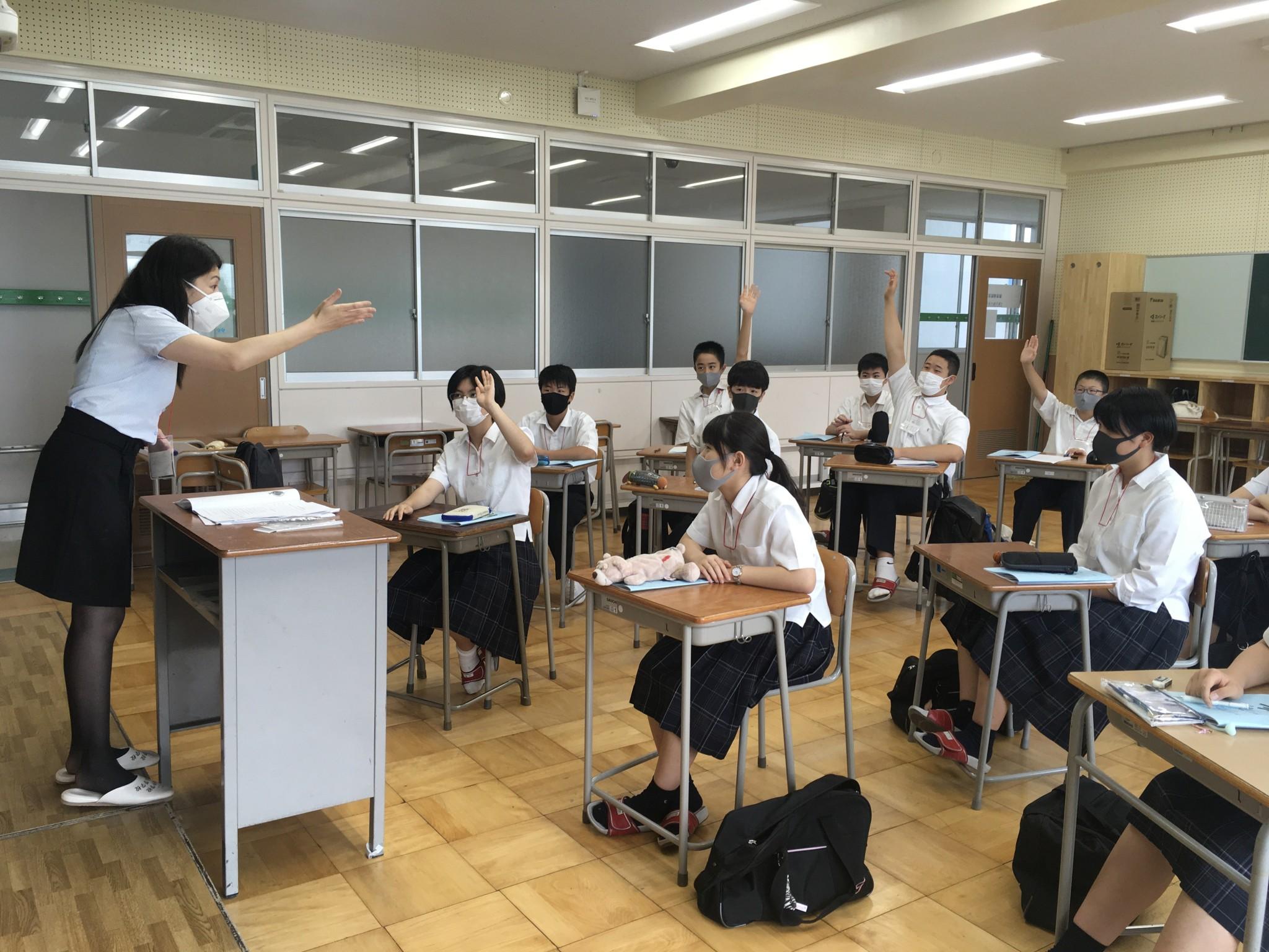 コロナに負けるな【中2、3】校内留学~1日目~